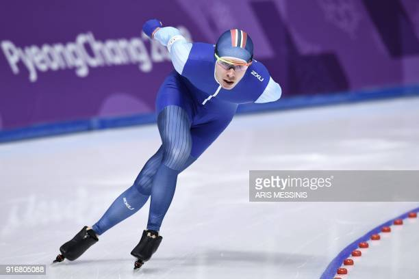 Norway's Simen Spieler Nilsen competes during the men's 5,000m speed skating event during the Pyeongchang 2018 Winter Olympic Games at the Gangneung...