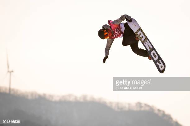 Norway's Staale Sandbech competes during the qualification of the men's snowboard big air event at the Alpensia Ski Jumping Centre during the...