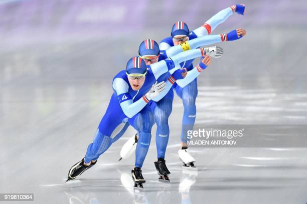 TOPSHOT Norway's Sverre Lunde Pedersen leads his team in the men's team pursuit quarterfinal speed skating event during the Pyeongchang 2018 Winter...