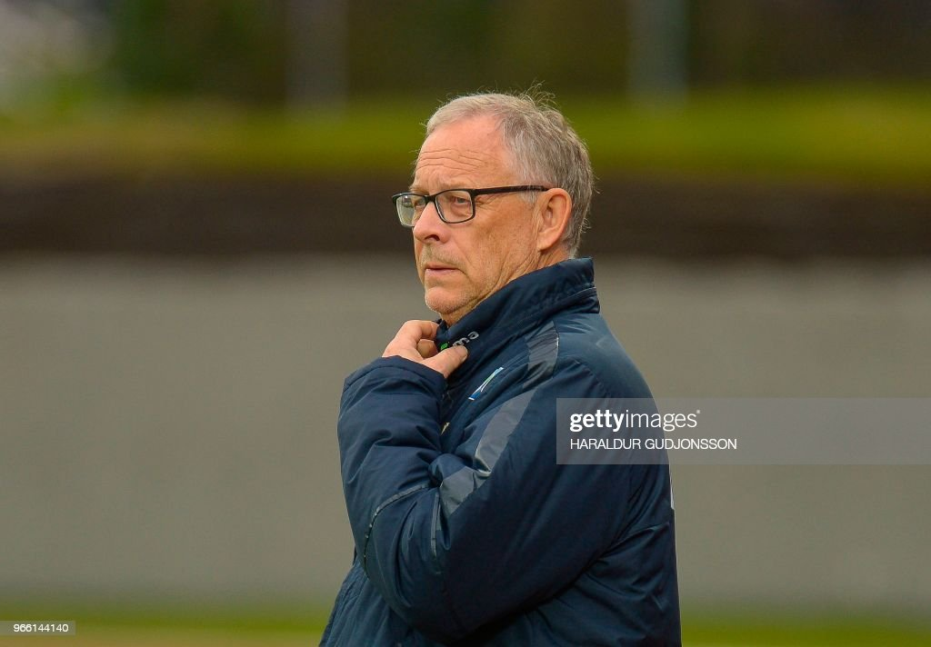 Norway's Swedish manager Lars Lagerback attends the international friendly football match Iceland v Norway in Reykjavik, Iceland on June 2, 2018.