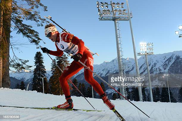 Norway's Tarjei Boe competes during the Men's 20 km Individual race of the IBU World Cup Biathlon at Laura Cross Country and Biathlon Center in the...