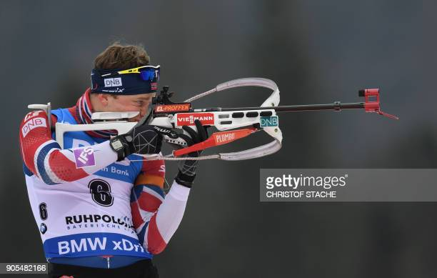 Norway's Tarjei Boe shoots during the warmup shooting prior the men's 15 kilometer mass start competition at the Biathlon World Cup on January 14...