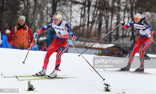 Norway's Therese Johaug and Heidi Weng run during the 10 kilometers women's pursuit race in the classic style at the FIS Tour de Ski in Oberstdorf...