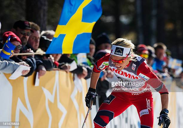Norway's Therese Johaug competes during the FIS CrossCountry World Cup Prologue Ladies 25 km Free Individual in Falun on March 16 2012 AFP PHOTO/...