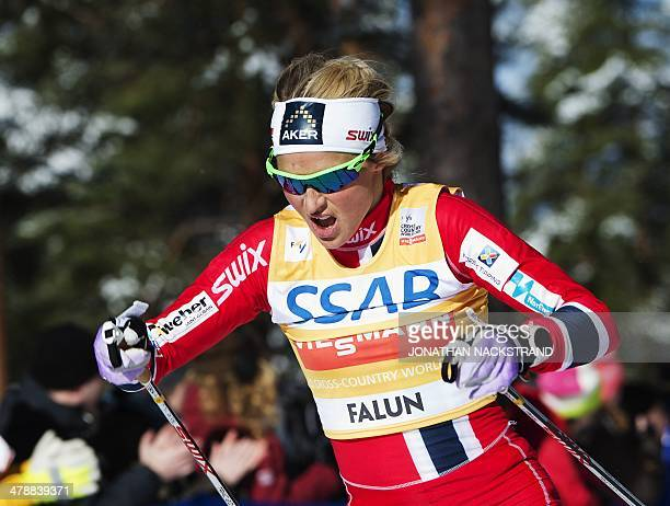 Norway's Therese Johaug competes during the FIS CrossCountry World Cup Ladies Skiathlon 75 classic and 75 km free competition in Falun Sweden on...