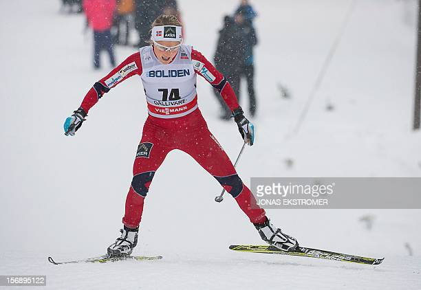 Norway's Therese Johaug competes during the ladies 10 km Free Individual distance in the Cross Country world cup tour on November 24 2012 in...