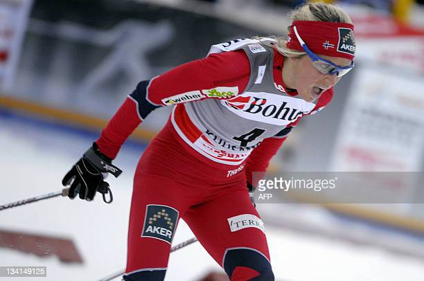 Norway's Therese Johaug competes for the second place in the women's 10 km classic pursuit cross country skiing event of the FIS World Cup Ruka...
