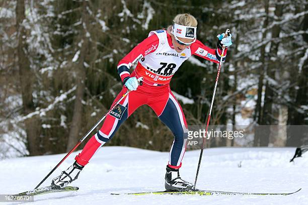 Norway's Therese Johaug competes on February 26 2013 during the Women's Cross Country skiing 10 Km Free Individual of the FIS Nordic World Ski...