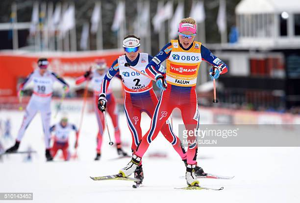 Norway's Therese Johaug is chased by her compatriot Heidi Weng during the women's 10 km mass start competition at the FIS CrossCountry World Cup in...