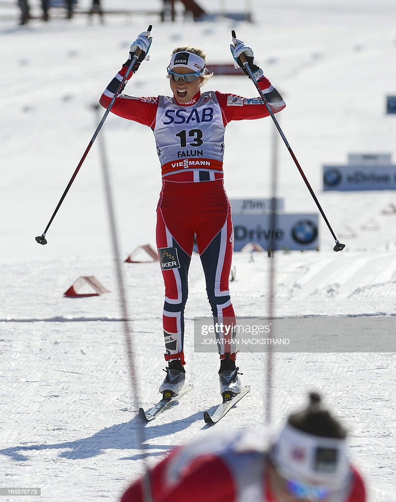 Norway's Therese Johaug reacts after crossing the finish line at the FIS Cross-Country World Cup Ladies 10 km Classic Mass Start in Falun, on March 23, 2013. Johaug placed second after compatriot Marit Bjoergen.