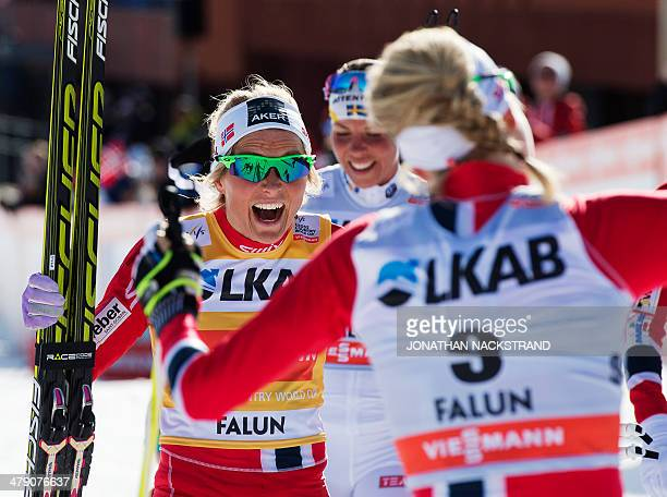 Norway's Therese Johaug reacts after crossing the finish line of the FIS CrossCountry World Cup Ladies 10 km F Pursuit in Falun on March 16 2014...
