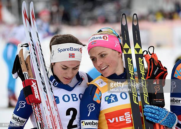 Norway's Therese Johaug talks with her compatriot Heidi Weng after the women's 10 km mass start competition at the FIS CrossCountry World Cup in...