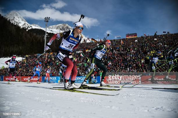 Norway's Tiril Eckhoff and athletes take the start of the women's 125 km mass start event of the IBU Biathlon World Cup in RasenAntholz Italian Alps...