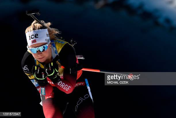 Norway's Tiril Eckhoff competes to win the women's 10km pursuit competition of the IBU Biathlon World Cup in Nove Mesto, Czech Republic, on March 7,...
