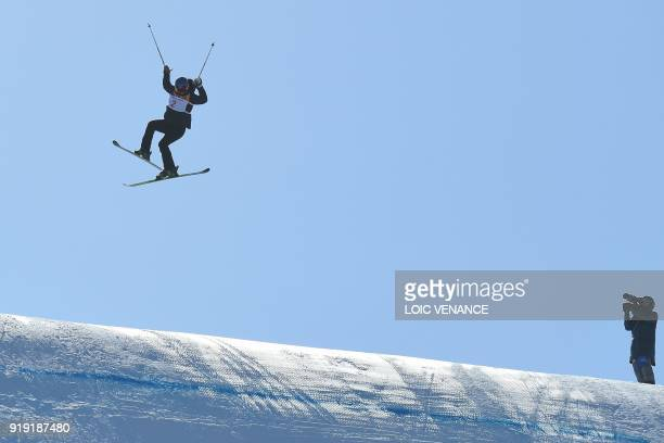Norway's Tiril Sjaastad Christiansen competes in a run of the women's ski slopestyle final event during the Pyeongchang 2018 Winter Olympic Games at...