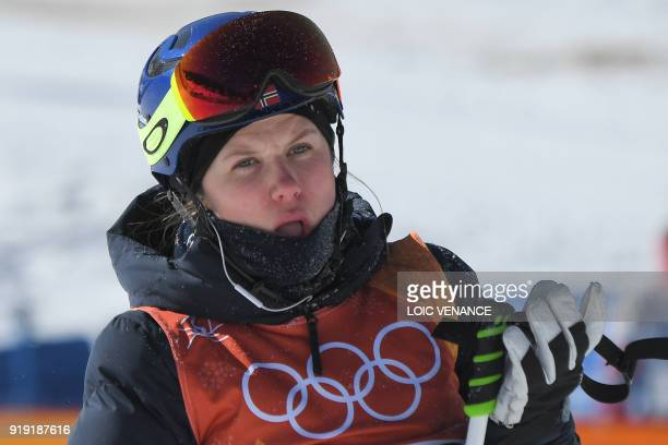 Norway's Tiril Sjaastad Christiansen reacts after competing in a run of the women's ski slopestyle final event during the Pyeongchang 2018 Winter...
