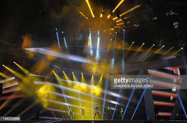 Norway's Tooji performs during the Second SemiFinal of the Eurovision 2012 song contest in the Azerbaijan's capital Baku on May 25 2012 AFP PHOTO /...