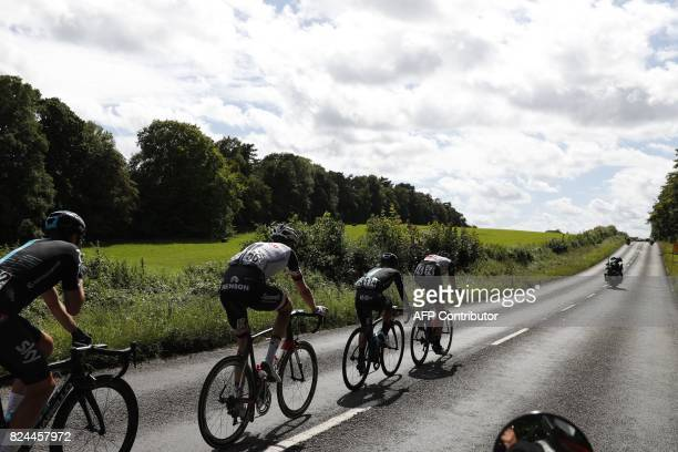 """Norway's Vegard Stake Laengen leads into the hills during the """"Prudential RideLondon-Surrey Classic 2017"""", UCI World Tour cycle race in London on..."""
