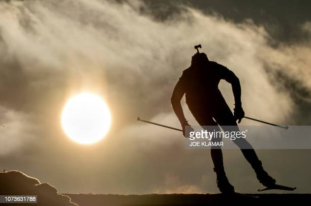 TOPSHOT Norway's Vetle Sjaastad Christiansen competes during the men's 125 km pursuit event of the IBU Biathlon World Cup in Hochfilzen Austria on...