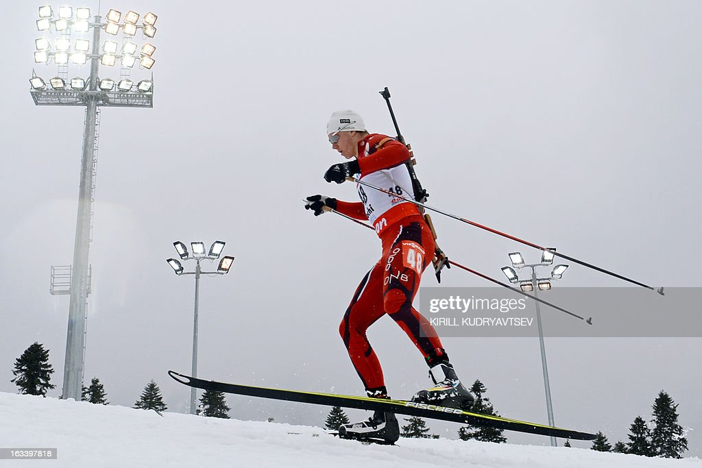 Norway's Vetle Sjastad Christiansen competes in the Men 7,5 km Sprint during IBU World Cup Biathlon at Laura Cross Country and Biathlon Center in Russian Black Sea resort of Sochi on March 9, 2013. France's Martin Fourcade took the first place ahead of Russia's Evgeny Ustyugov and Norway's Henrik L'Abee-Lund.