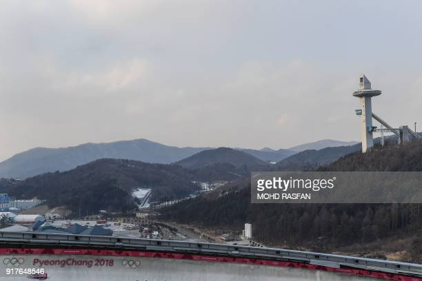 Norways's Alexander Henning Hanssen practices in the men's skeleton training session at the Olympic Sliding Centre, during the Pyeongchang 2018...