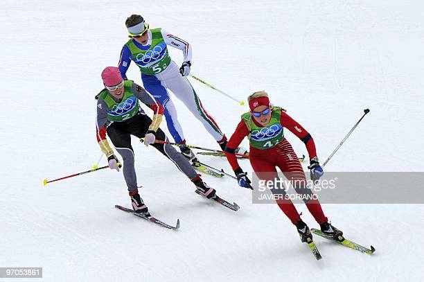 Norway'sTherese Johaug Germany's Evi SachenbacherStehle and Italy's Marianna Longa compete in the women's Cross Country Skiing 4x5 km relay at...