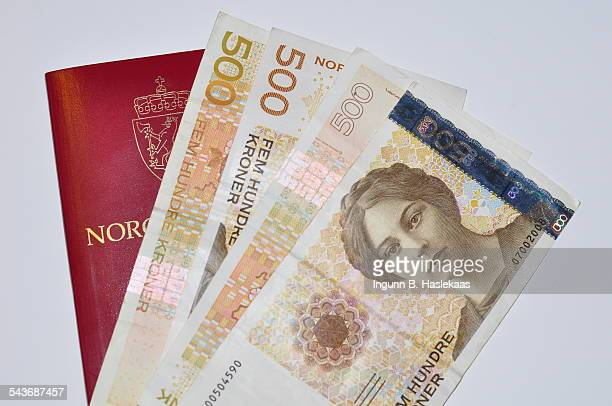 Norwegian 500 banknotes and passport
