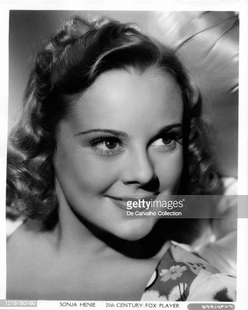 Norwegian actress and athlete Sonja Henie in a publicity shot from the late 1930's United States. The photo was taken by Frank Powolny.
