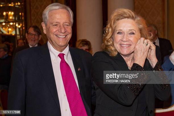 Norwegian actress Liv Ullmann and her husband Donald Saunders attend an event to celebrate Ullmann´s 80 years anniversary in Oslo on December 16 2018...