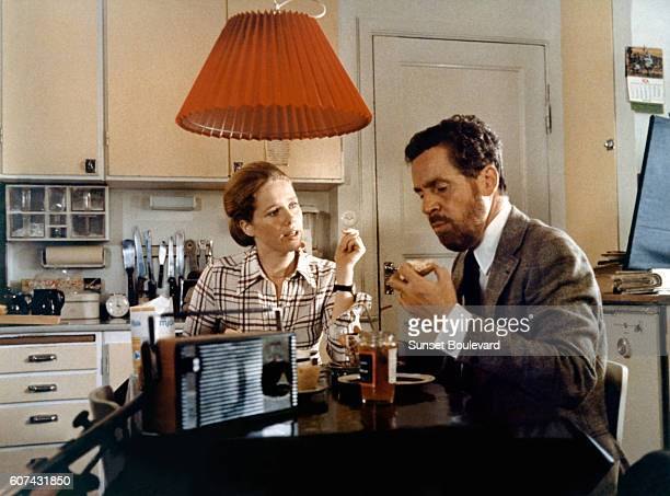 Norwegian actress Liv Ullmann and Swedish actor Erland Josephson on the set of TV MiniSeries Scener ur ett äktenskap written and directed by Ingmar...