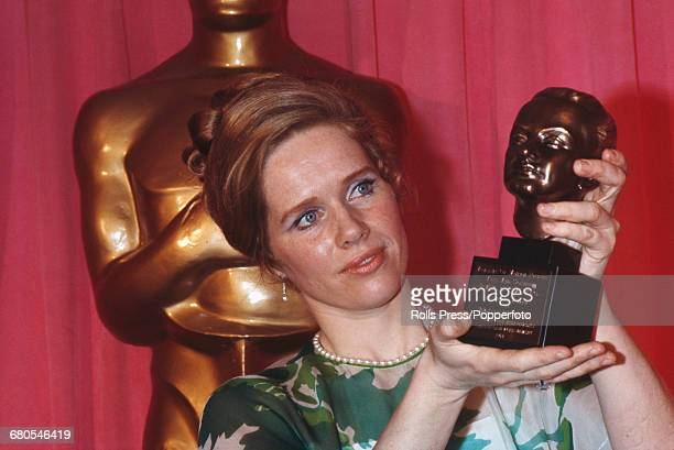 Norwegian actress Liv Ullmann pictured holding the Irving G Thalberg Memorial Award awarded to Ingmar Bergman at the 43rd Academy Awards at the...