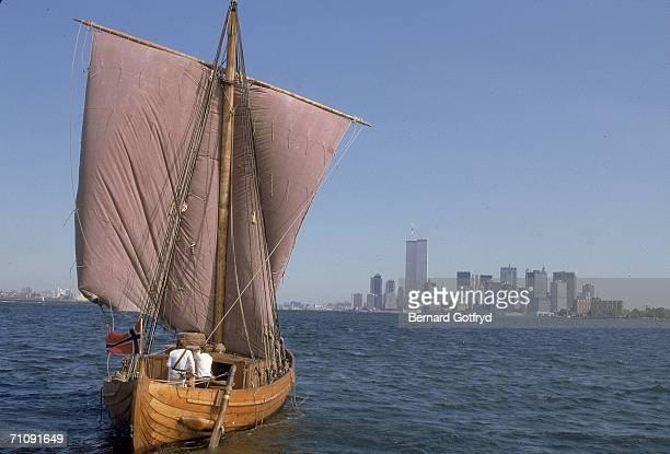Norwegian adventurer and journalist Ragnar Thorseth sails into New York harbor on the Saga Siglar a replica of an 11th Century viking 'knarr' or...