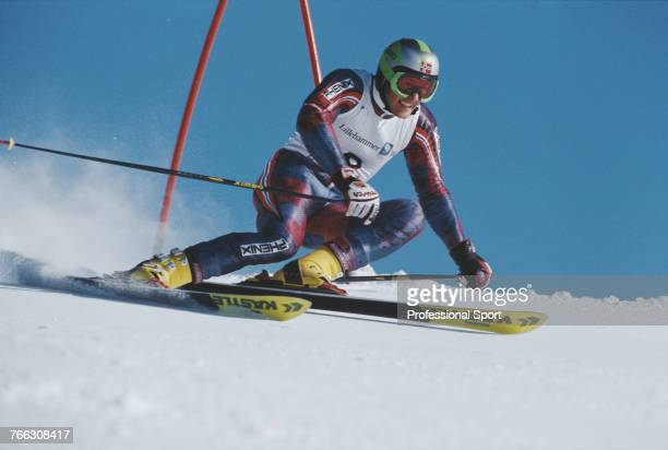 Norwegian alpine skier Jan Einar Thorsen pictured competing for the Norway team to finish in 4th place in the Men's giant slalom skiing event held at...