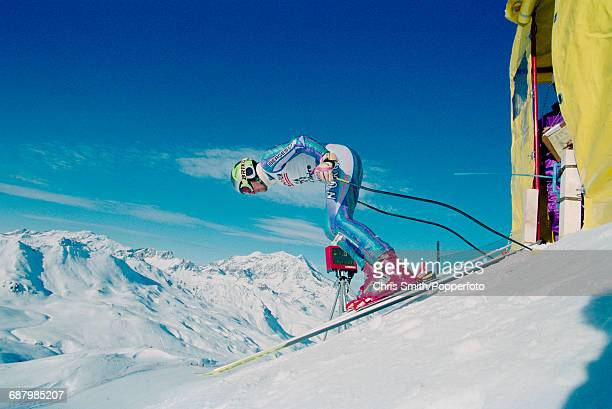 Norwegian alpine skier Tom Stiansen pictured in competition at the start of the Men's Super G event during the 1994 Alpine Skiing World Cup at Val...