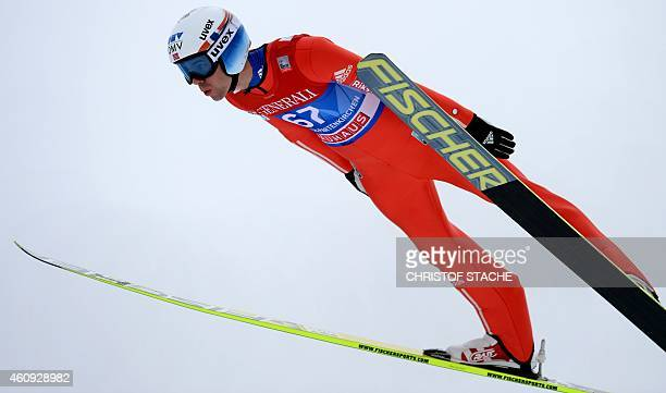 Norwegian Anders Bardal competes during a training session for the qualification jump of the second session of the FourHills Ski jumping tournament...