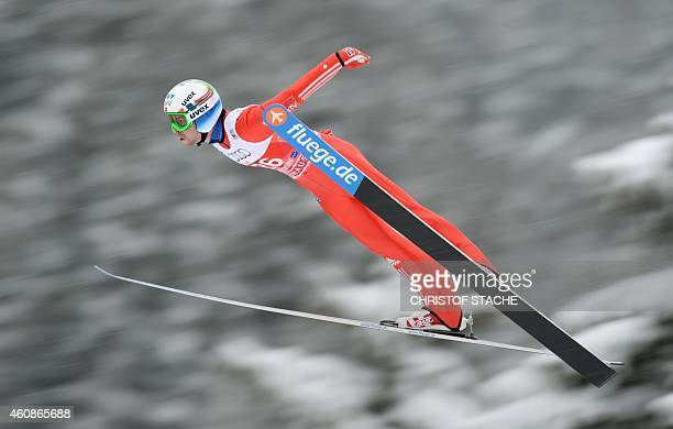 Norwegian Anders Jacobsen competes during a training session ahead of the qualification for the FourHills Ski jumping tournament in Oberstdorf...