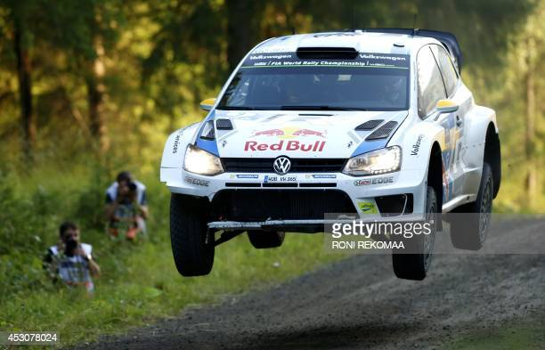 Norwegian Andreas Mikkelsen drives during the third day of FIA World Rally Championship WRC Neste Oil Rally Finland in Jyvaskyla central Finland on...