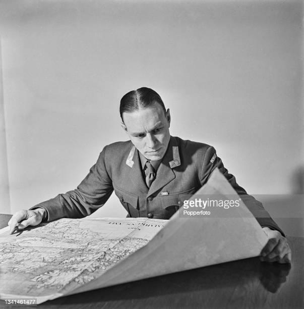 Norwegian Army Officer Major General Wilhelm von Tangen Hansteen , new Commander in Chief of the Norwegian Armed Forces, studies a map in his office...