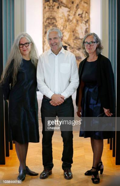 French Culture Minister Francoise Nyssen Norwegian artists Kari Dyrdal Torbjorn Kvasbo Marit Tingleff and Queen of Norway Sonja Haraldsen pose for...