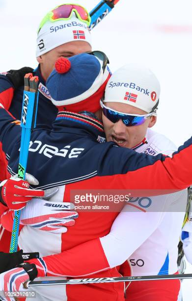 Norwegian athlete Finn Haagen Krogh celebrates after competing in the men's 4 x 10 kilometre relay race at the Nordic Ski World Championship in Lahti...
