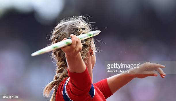 Norwegian athlete prepares for javelin throw during the '15t IAAF World Athletics Championships Beijing 2015' at Beijing National Stadium on August...
