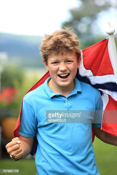 norwegian boy patriot with flag, norway - norwegian flag stock pictures, royalty-free photos & images