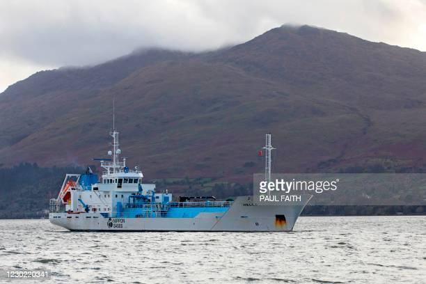 Norwegian co2 tanker helle approaches the border port town of Warrenpoint, sitting beside Carlingford lough, with Northern Ireland on one side and...