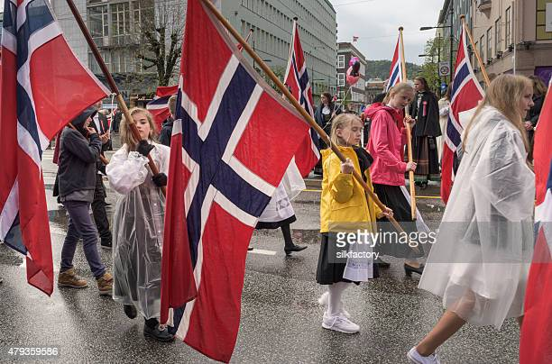 Norwegian Constitution Day (May 17) Celebration Parade in Bergen, Norway