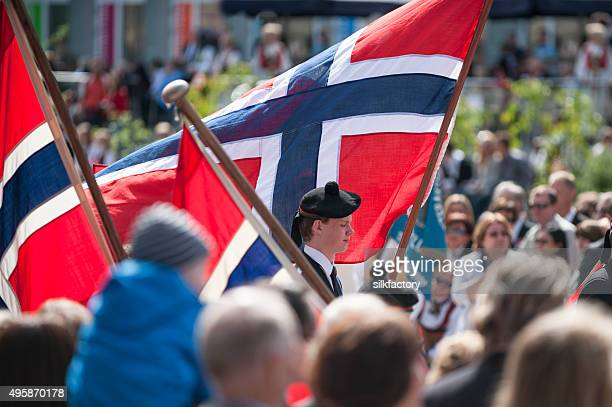 norwegian constitution day (may 17) celebration parade in bergen - norwegian flag stock pictures, royalty-free photos & images