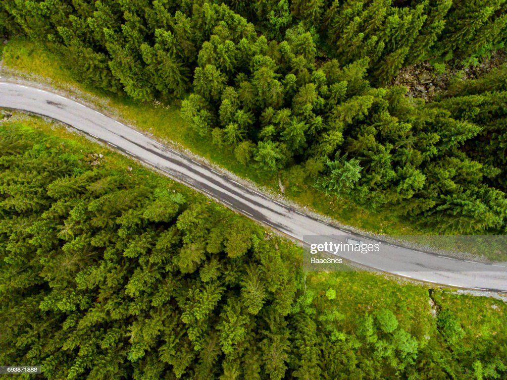 Norwegian country road seen from above : Stock Photo