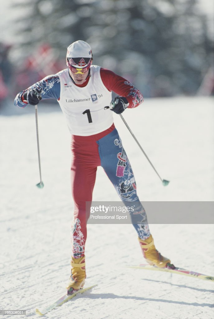 Norwegian cross country skier Bjorn Daehlie of the Norway team pictured in action during competition to finish in first place to win the gold medal in the Men's 10 kilometres cross-country skiing event at the 1994 Winter Olympics at the Birkebeineren Ski stadium near Lillehammer in Norway in February 1994.