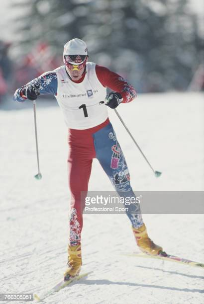 Norwegian cross country skier Bjorn Daehlie of the Norway team pictured in action during competition to finish in first place to win the gold medal...