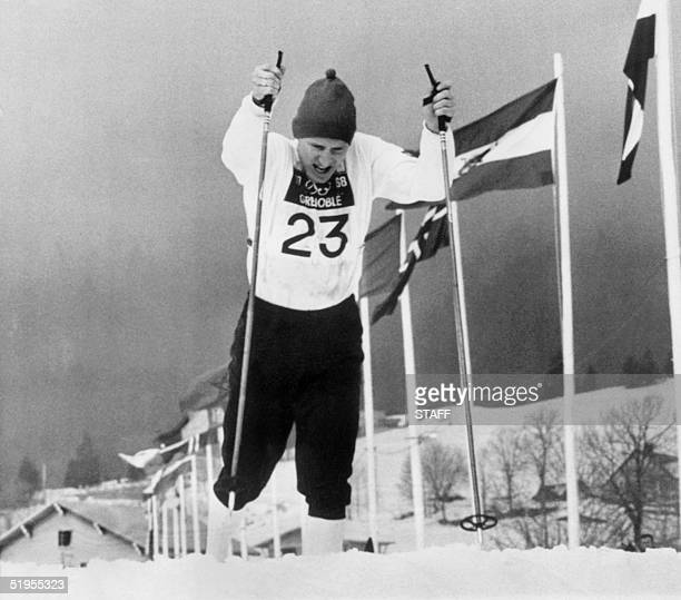 Norwegian cross country skier Ollo Ellefsaeter powers his way to victory in the 50km individual cross country event, 17 February 1968 in Autrans,...
