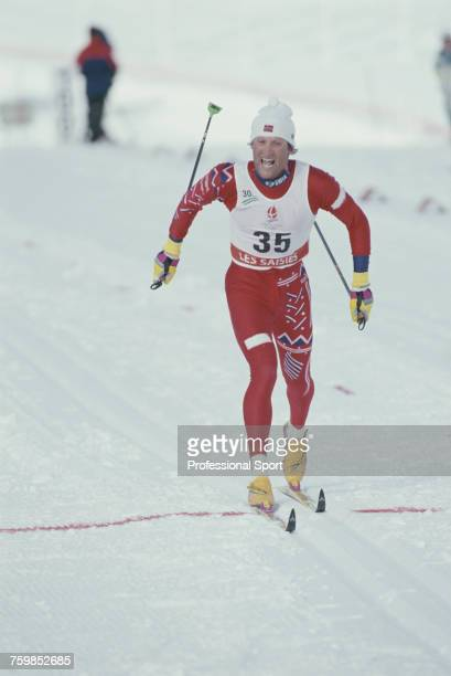 Norwegian crosscountry skier Vegard Ulvang pictured crossing the line to finish in first place to win the gold medal in the Men's 30 km classical...